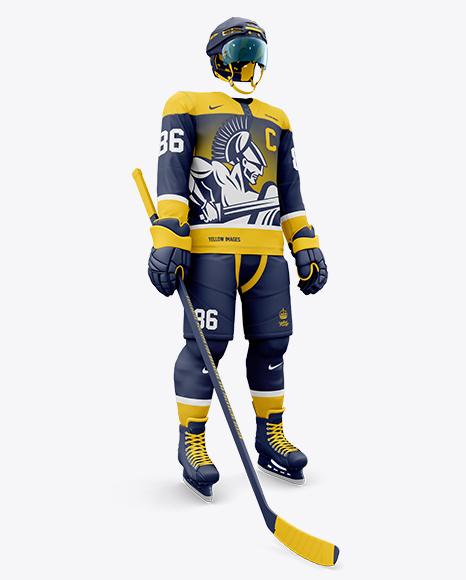 Men's Full Ice Hockey Kit with Visor PSD Mockup Hero Shot 136.82MB