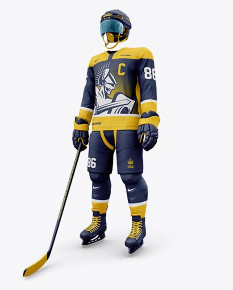 Men's Full Ice Hockey Kit with Visor mockup (Half Side View)