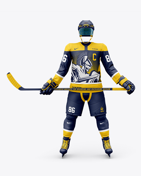 Men's Full Ice Hockey Kit with Stick mockup (Front View)