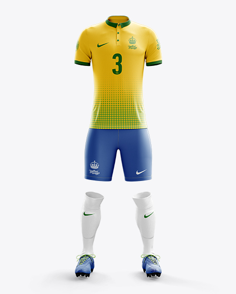 Men's Full Soccer Kit with Polo Shirt Mockup (Front View)