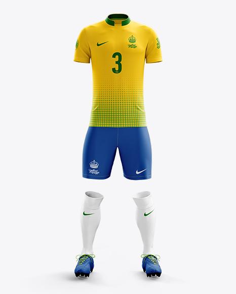 Men's Full Soccer Kit with Mandarin Collar Shirt Mockup (Front View)