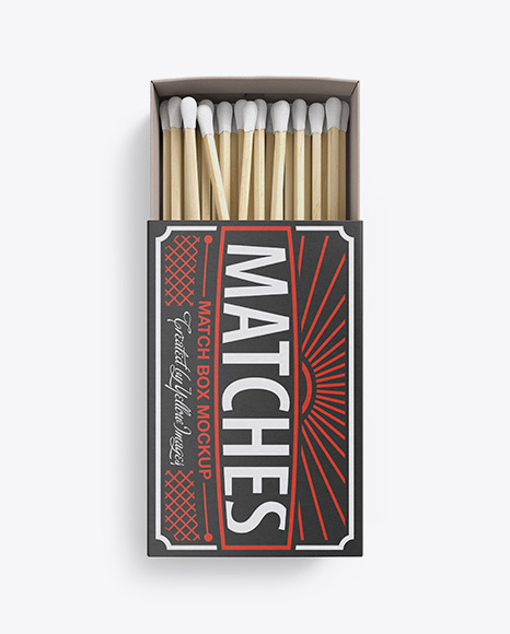 Download Wide Open Carton Match Box Mockup - Top View Object Mockups