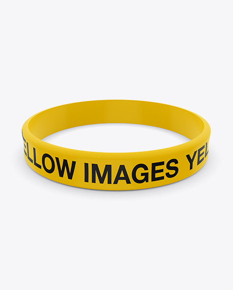 Silicone Wristband Mockup In Apparel Mockups On Yellow