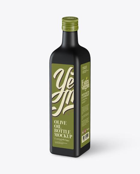 0.75L Black Matte Olive Oil Bottle PSD Mockup Halfside View High-Angle Shot 22.88MB