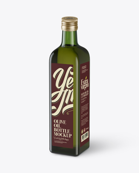 Download 0.75L Green Glass Olive Oil Bottle Mockup - Halfside view (High-Angle Shot) Object Mockups
