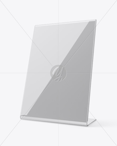 plastic table tent mockup half side view in indoor advertising