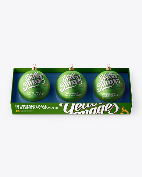 Three Matte Metallic Christmas Balls in Paper Box Mockup (High-Angle Shot)