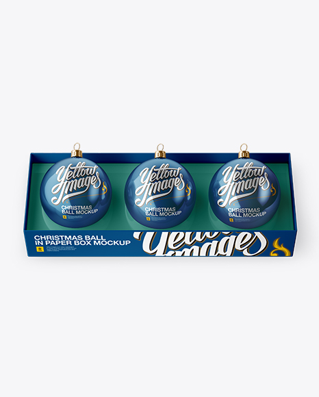 Three Metallic Christmas Balls in Paper Box Mockup (High-Angle Shot)