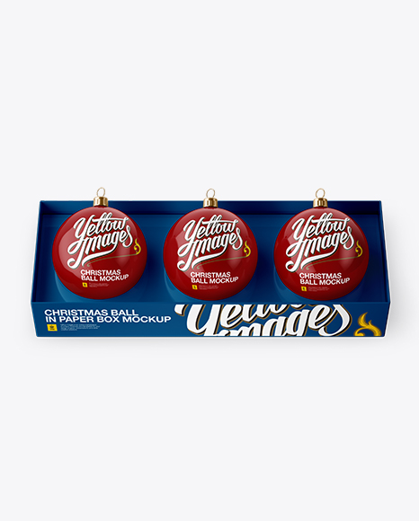 Three Glossy Christmas Balls in Paper Box PSD Mockup High-Angle Shot 48.29MB