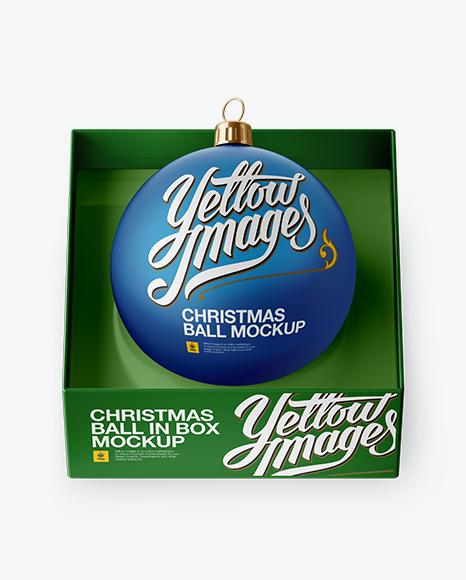 Matte Christmas Ball in Paper Box Mockup (High-Angle Shot)