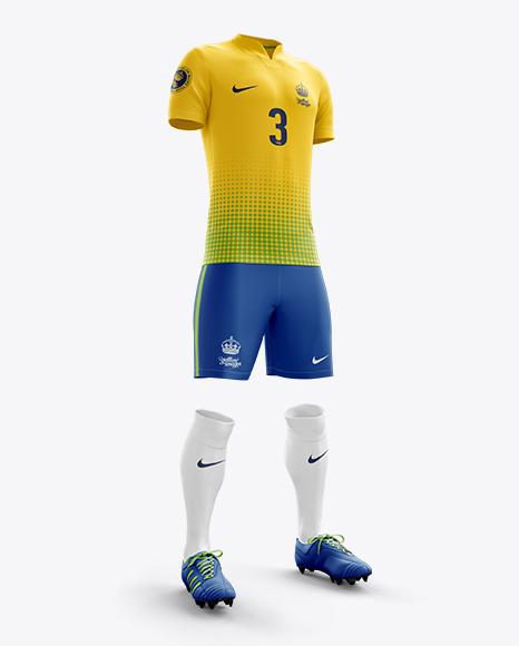 Men's Full Soccer Kit with V-Neck Shirt Mockup (Hero Shot)