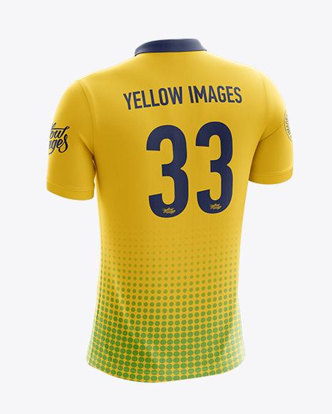 Download Men's Soccer Polo Shirt Mockup (Back Half Side View) Object Mockups
