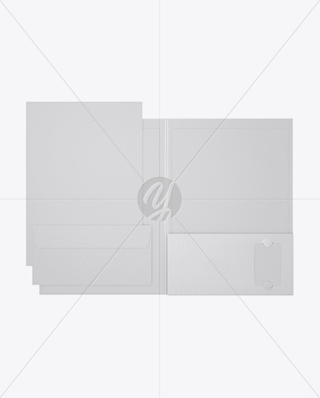 Leather Folder with Papers and Envelope Mockup