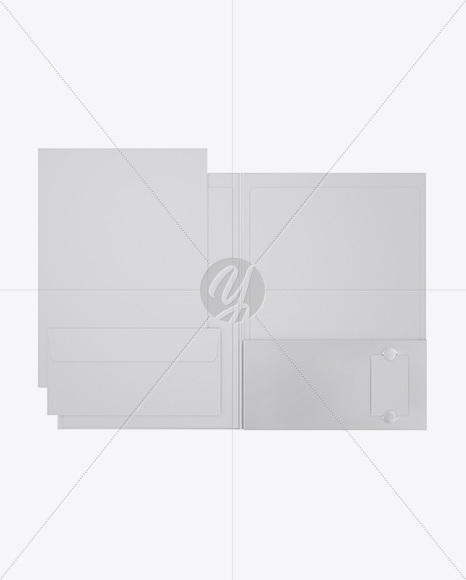 Matte Folder with Papers and Envelope Mockup