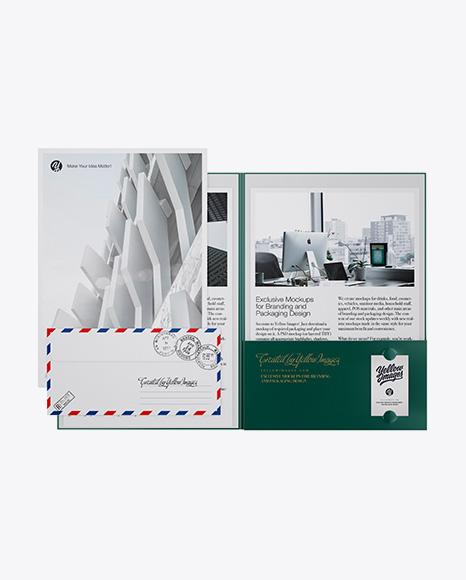 Kraft Folder with Papers and Envelope Mockup