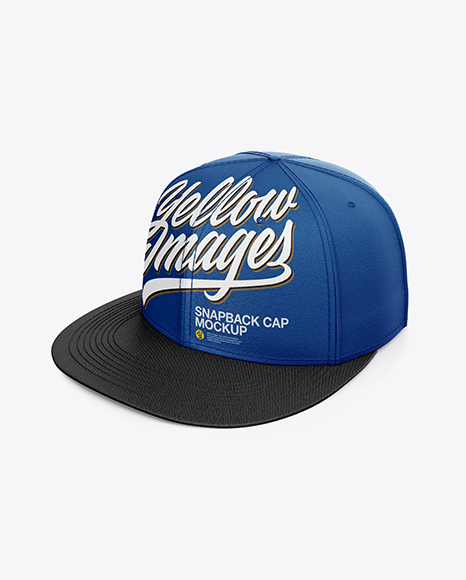 Snapback Cap Mockup - Half Side View (High-Angle Shot)