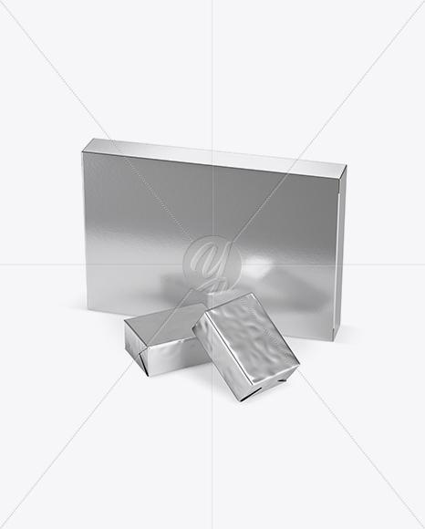 Metallic Paper Box With Two Blocks Mockup