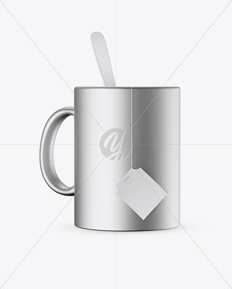 Metallic Mug With Tea Bag & Spoon Mockup