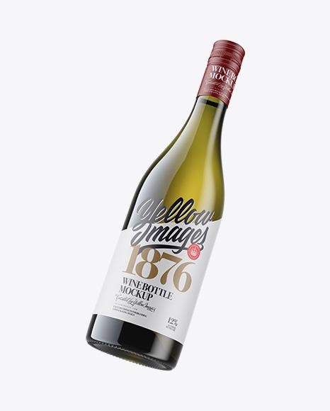 Download Green Glass Wine Bottle Mockup In Bottle Mockups On Yellow Images Object Mockups PSD Mockup Templates