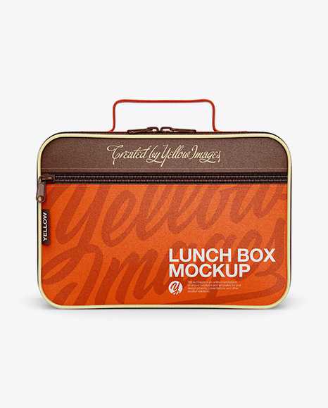 Lunch Box Mockup Front View In Bag Sack Mockups On Yellow