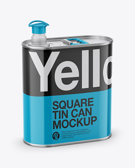 Download 4L Opened Square Tin Can Mockup - Half Side View (High-Angle Shot) Object Mockups