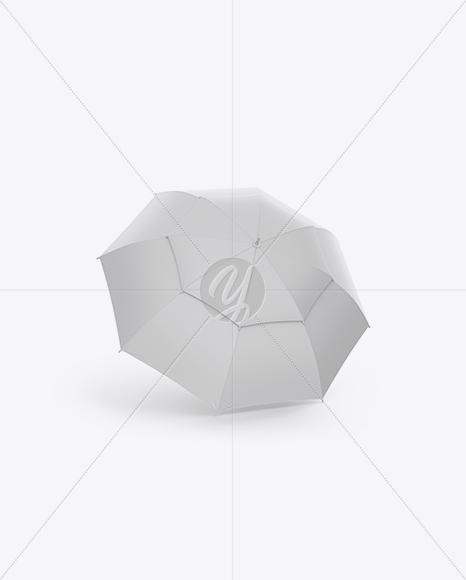Open Double Umbrella Mockup - Half Side View