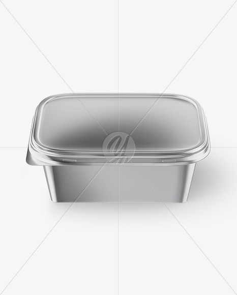 Metallic Plastic Container Mockup - Front View (High Angle Shot)