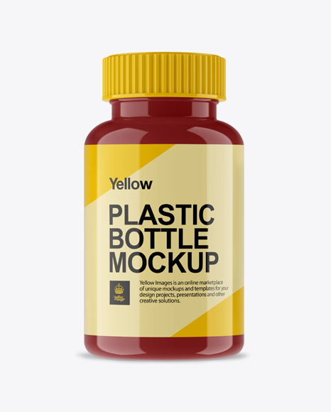 Glossy Pill Bottle Mockup - Front View