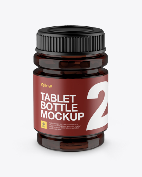 Download Amber Bottle With Capsules Mockup - High-Angle Shot Object Mockups