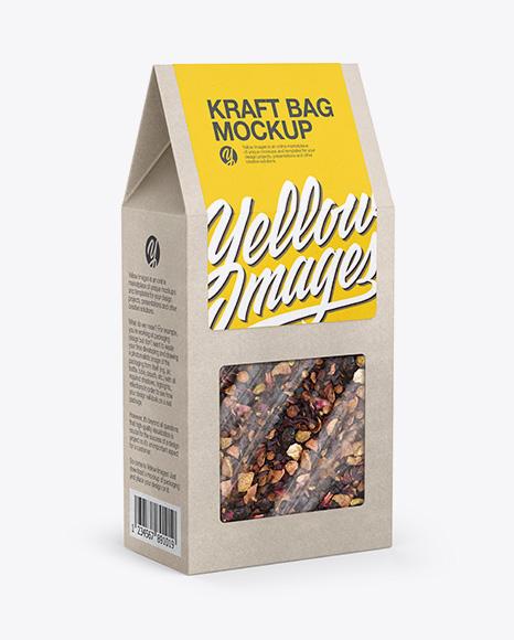 Download Free Kraft Paper Box W/ Tea - Half Side View PSD Template
