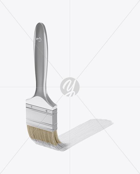 Brush With Metallic Grip & Paint Strip Mockup