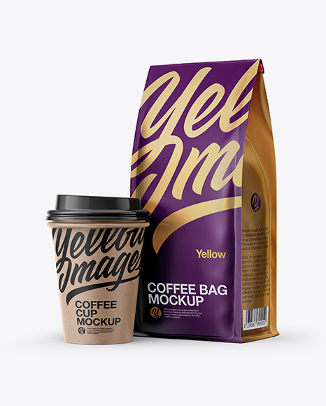 Download Matte Bag with Kraft Coffee Cup Mockup - Half Side View Object Mockups