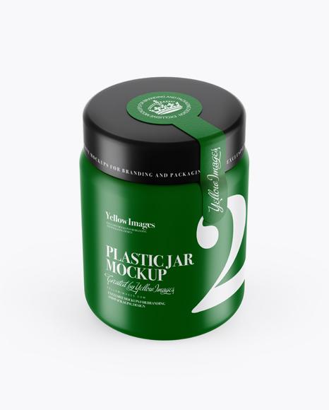 250ml Matte Plastic Jar With Seal Sticker Mockup (High-Angle Shot)