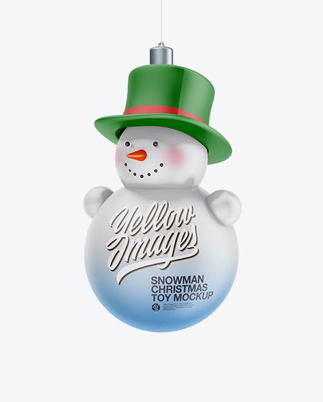 Matte Christmas Snowman Toy Mockup - Half Side View