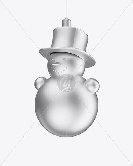 Metallic Christmas Snowman Toy Mockup - Half Side View