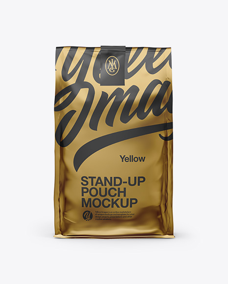 Stand Up Glossy Metallic Pouch with Sticker Mockup - Front View