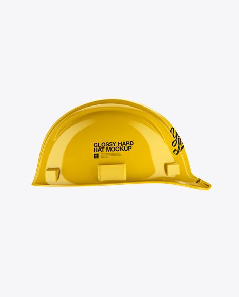 Glossy Hard Hat Mockup - Side View