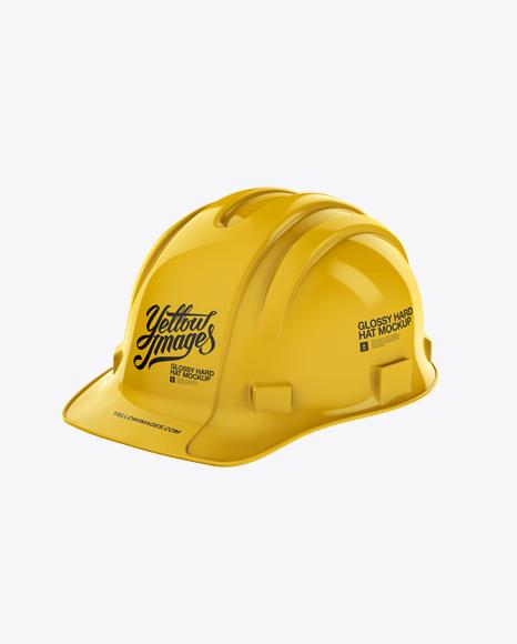 Glossy Hard Hat Mockup - Halfside View
