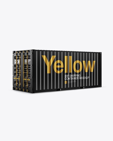 Download 20F Metallic Shipping Container Mockup - Halfside View Object Mockups
