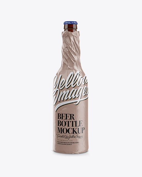Amber Beer Bottle Wrapped in Glossy Paper Mockup