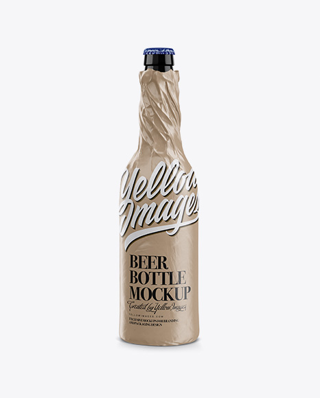 Bottle Wrapped in Paper Mockup