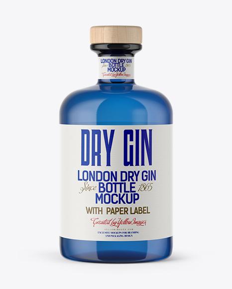 Download Blue Glass Gin Bottle Mockup Object Mockups