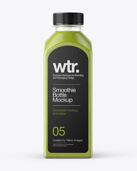Download Square Green Smoothie Bottle Mockup - Front View Object Mockups