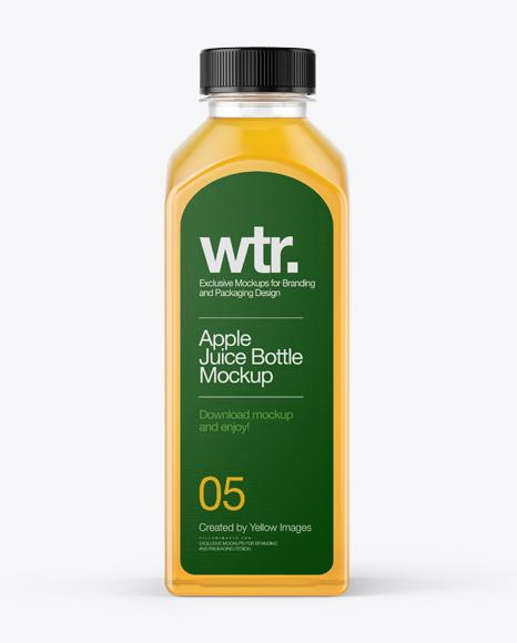 square apple juice bottle mockup front view in bottle mockups on