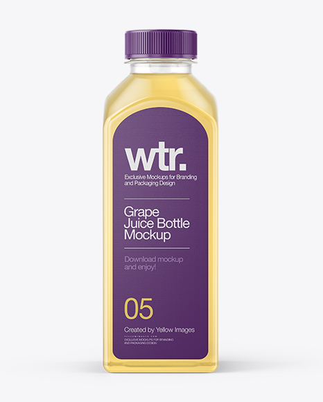 Square Grape Juice Bottle Mockup