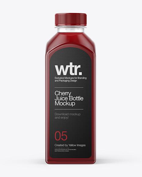 Download Square Cherry Juice Bottle Mockup Object Mockups