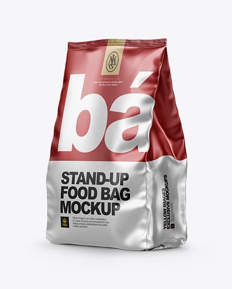 Download Matte Metallic Stand-up Bag Mockup - Half Side View Object Mockups