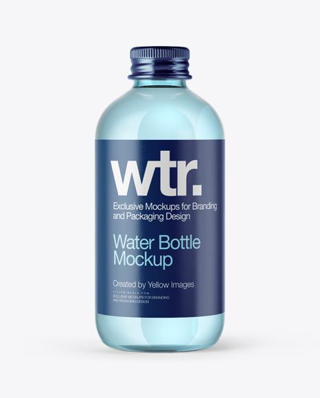 Aqua Blue Glass Bottle w/ Metal Cap Mockup