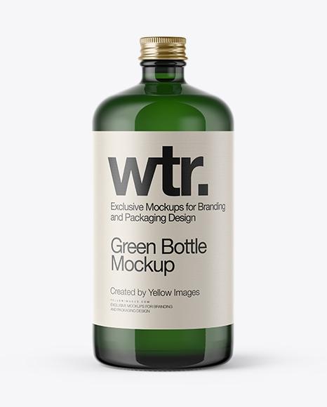 Download Green Glass Bottle w/ Metal Cap Mockup Object Mockups