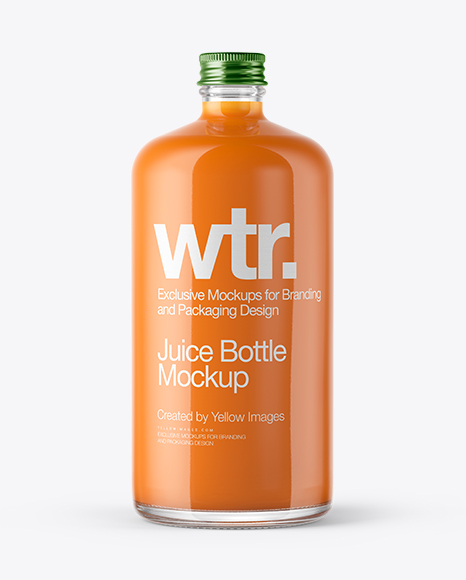 Clear Glass Bottle With Carrot Juice Mockup